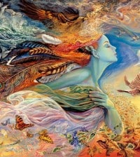 Josephine Wall is an English fantasy art painter and sculptor, whose beautiful artwork is heavily inspired by Arthur Rackham and the pre-Raphaelite artists.