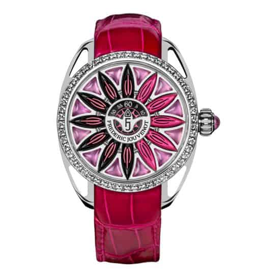 Surya, the world's first watch to show the hours by means of 12 jumping petals.