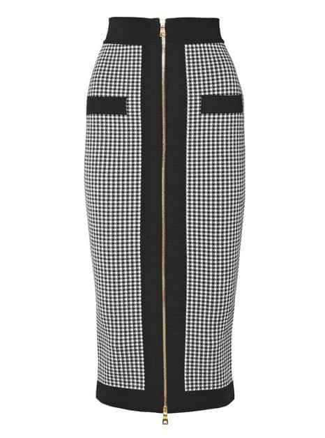 Black and White Balmain Pencil Skirt. BUY NOW!!! #shop #fashion #style #shop #shopping #clothing #beverlyhills #dress #shoes #boots #beverlyhillsmagazine #bevhillsmag #handbags #purses #bags #jewelry #jewellery #rings #diamonds #diamond #ring