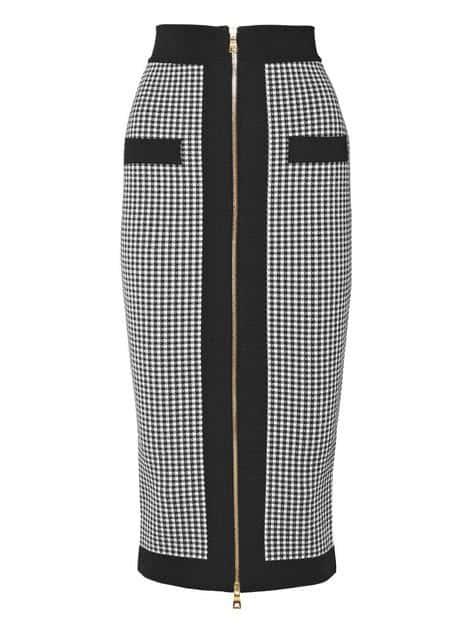 Black and White Balmain Pencil Skirt. BUY NOW!!! #shop #fashion #style #shop #shopping #clothing #beverlyhills #dress #shoes #boots #beverlyhillsmagazine #bevhillsmag #handbags #purses #bags #jewelry #jewellery #rings #diamonds #diamond #ring