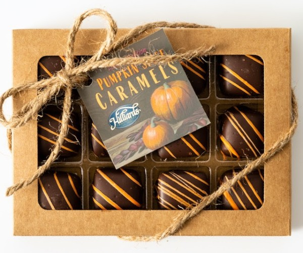 Beverly Hills Magazine PUMPKIN SPICE CARAMELS#bevhillsmag #giftguide #hilliards #chocolates #hilliardschocolates