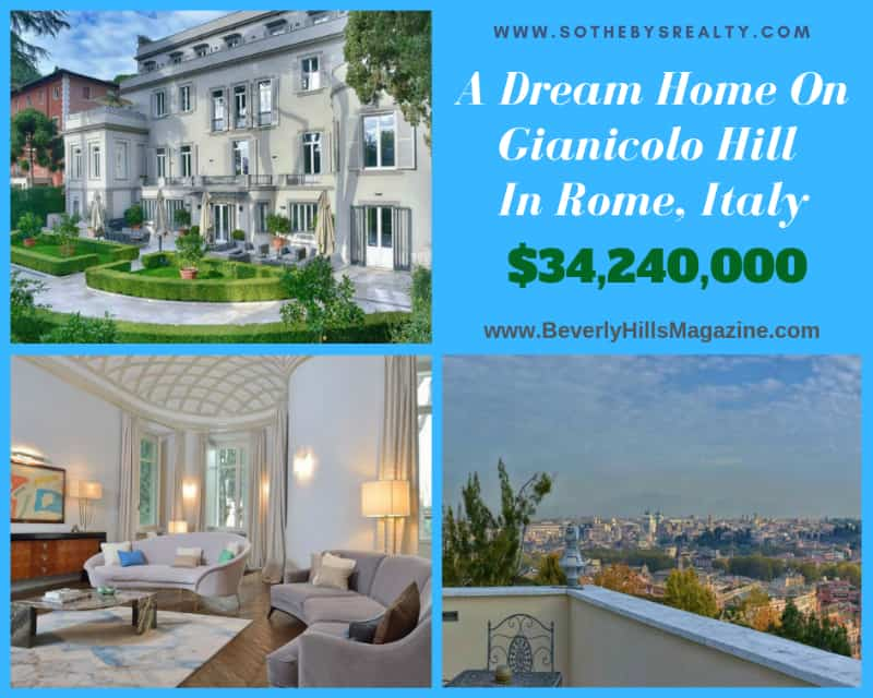 A Dream Home on Gianicolo Hill in Rome, Italy #italy #rome #gianicolo #dreamhomes #mansion #dreamhome #realestate #luxury #homes #bevhillsmag #beverlyhillsmagazine #beverlyhills