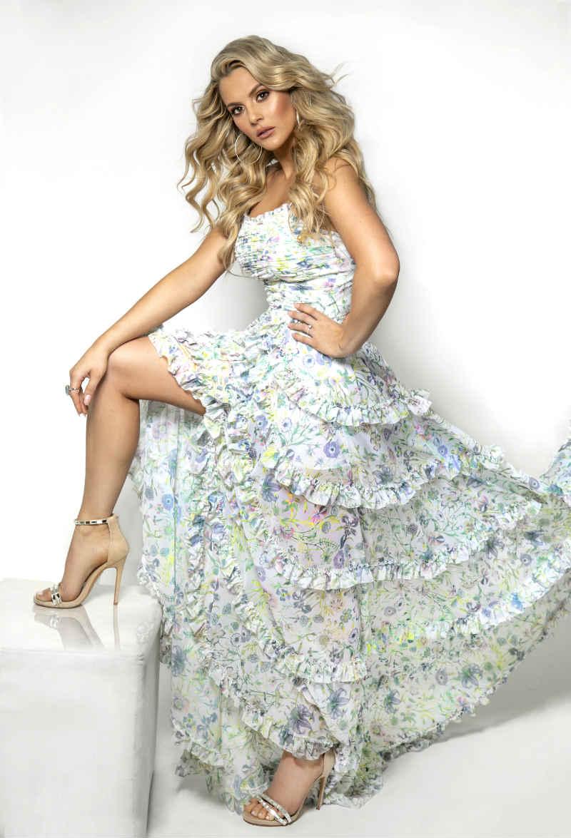 Pretty Blonde Women Wearing Glittering High Heels