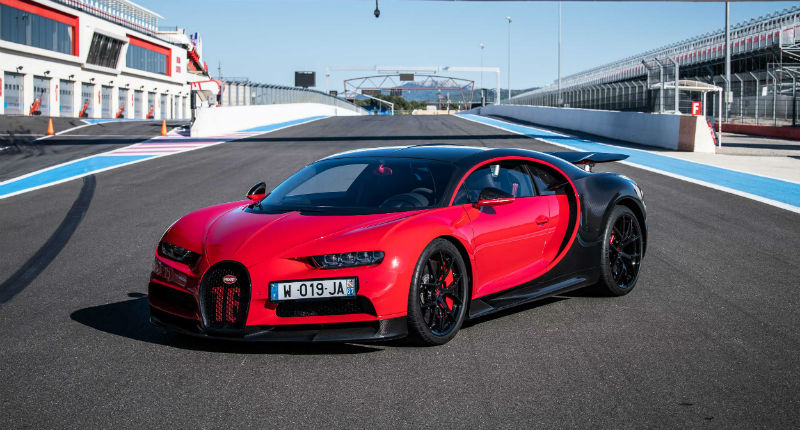 Red And Black Bugatti Chiron On Racetrack