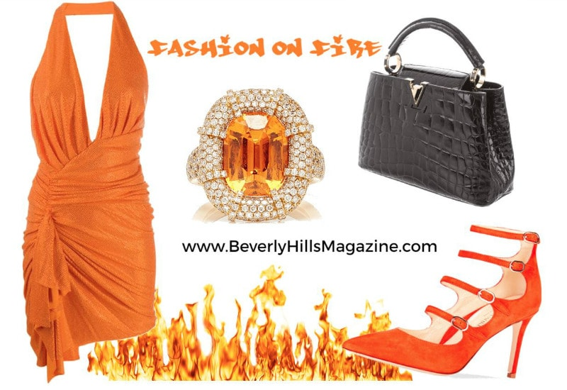 Stylish Orange Dress and Heels with Black Louis Vuitton Handbag