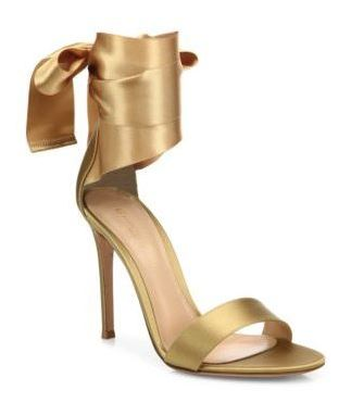 Gianvito Rossi Gold Tie-Strap Heels. BUY NOW!!!