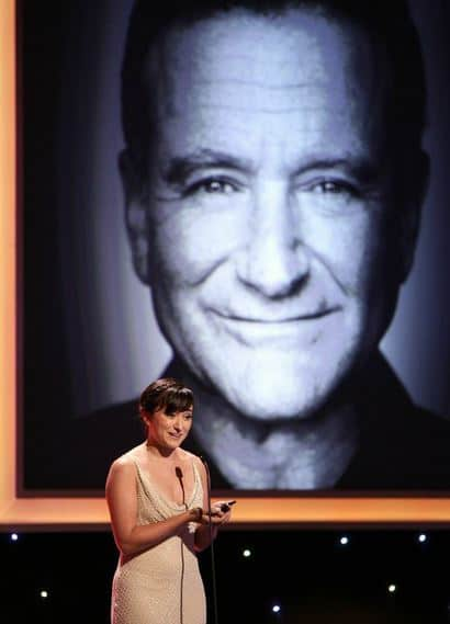 Zelda Williams accepts award on behalf of her Dad at the Noble Awards in Beverly Hills.