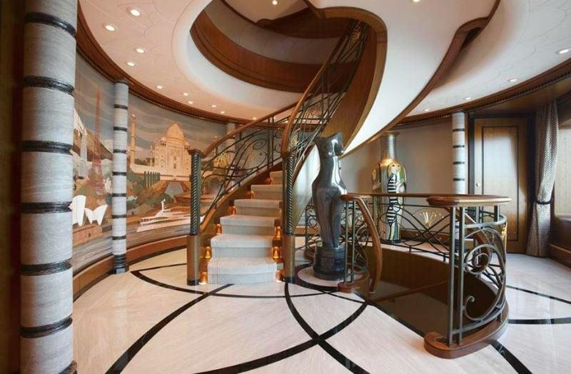 223' Luxury Yacht Interior Staircase