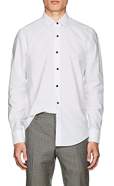 Lanvin White Button Up Dress Shirt For Men With Black Buttons. BUY NOW!!! #shop #fashion #style #shop #shopping #clothing #beverlyhills #dress #shoes #boots #beverlyhillsmagazine #bevhillsmag #styleformen #manstyles #guystuff #giftsforhim #stylesofrmen