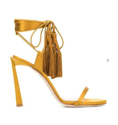 Lanvin Tasseled Sandals In Yellow Gold