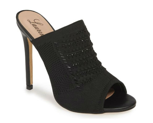 Lauren Lorraine Marcia Beaded Peep Toe Mule in Black