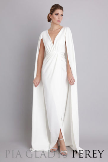 Beautiful Female Model in White Pia Gladys Perey Gown