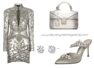 Stunning In Silver Style. SHOP NOW!!! #fashion #style #shop #shopping #clothing #beverlyhills #shoes #designer #manoloblahnik #highheels #balmain #dress #stalvey #dresses #beverlyhillsmagazine #bevhillsmag #dresses
