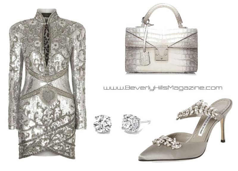 Stunning In Silver Style. SHOP NOW!!! #fashion #style #shop #shopping #clothing #beverlyhills #shoes #designer #manoloblahnik #highheels #balmain #dress #stalvey #dresses #beverlyhillsmagazine #bevhillsmag #dresses