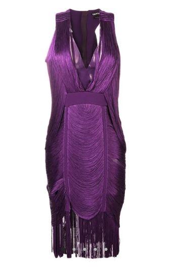 Purple V-Neck Tom Ford Dress With Tassels
