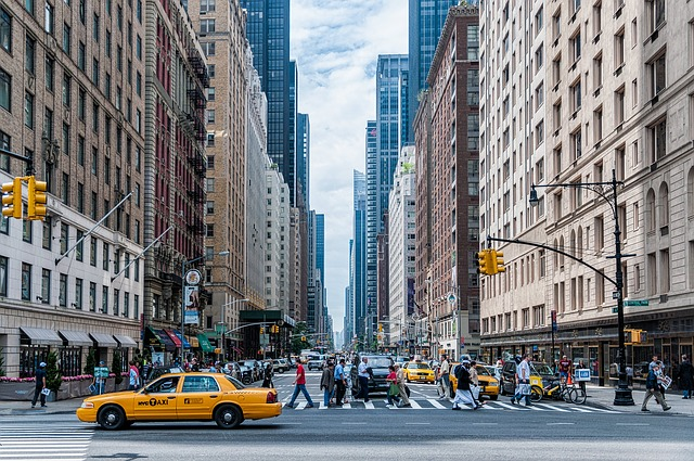 Busy Street with Taxi Cab in New York City