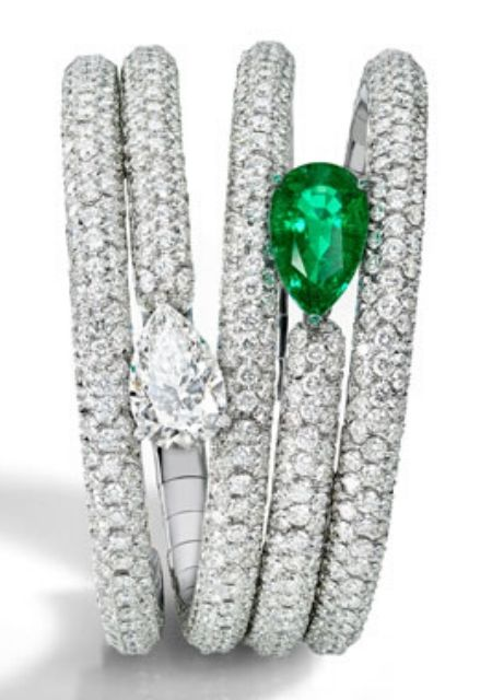 Diamond Jewelry: The-One-Pear-Diamond & Emerald Bracelet from De Grisogono #jewelry # shop jewelry #jewels #fine jewelry #gold #silver #diamonds #diamond bracelet #jewellery #jewellery for women #beverly hills #beverly hills magazine