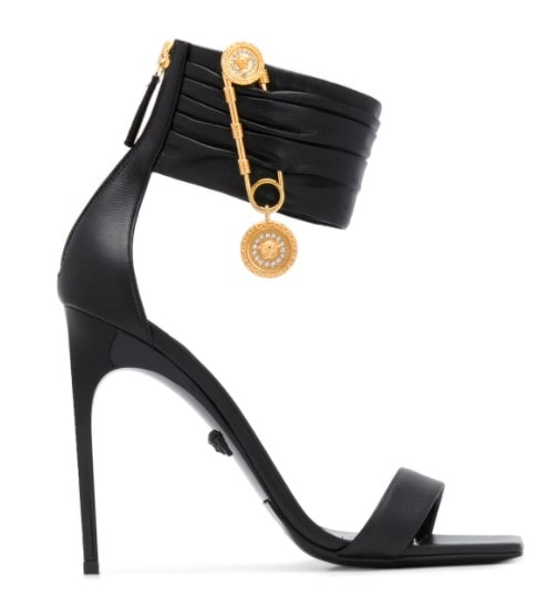 Beverly hills magazine Versace fashion designer square toe heels