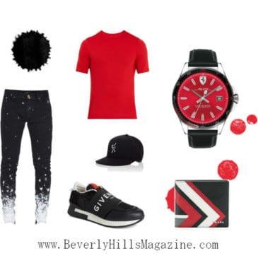 Black & Red Man Style- #bevhillsmag #BevHillsMag #beverlyhillsmagazine #fashion #style #newstyles #fashionblog #shop #shopping #clothes #fashionworld #fashionmagazine #instyle #stylemagazine