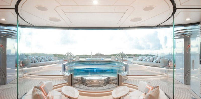 Stunning View Off Deck Of Luxury Yachts