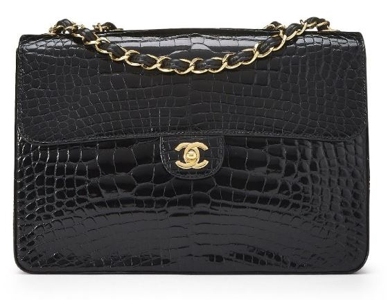 Chanel Black Alligator Half Flap Jumbo Black Handbag