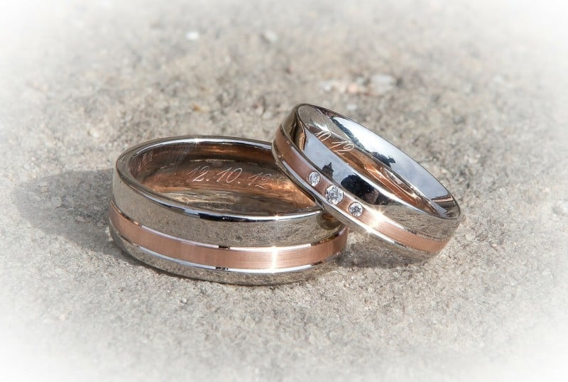 Silver and Bronze Wedding Rings