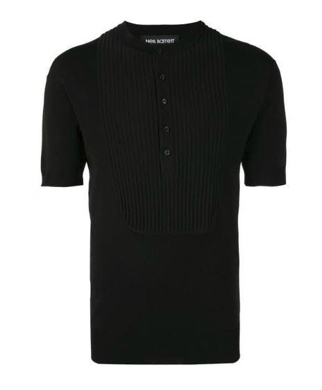 Black Neil Barrett classic plain polo shirt.