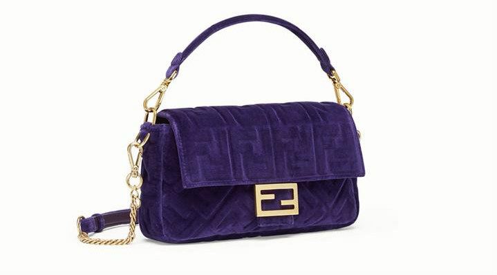 FENDI Baguette in velvet. BUY NOW!!! #fashion #style #shop #handbags #beverlyhills #beverlyhillsmagazine #BevHillsMag