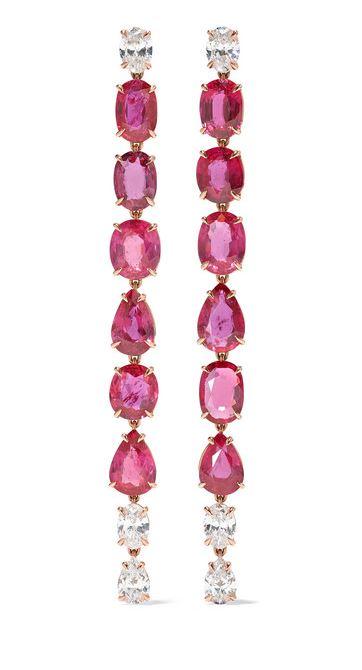Anita Ko - 18-karat Gold, Ruby And Diamond Earrings. BUY NOW!!! #earrings #jewelry #pink #diamonds #bevhillsmag #beverlyhills #beverlyhillsmagazine