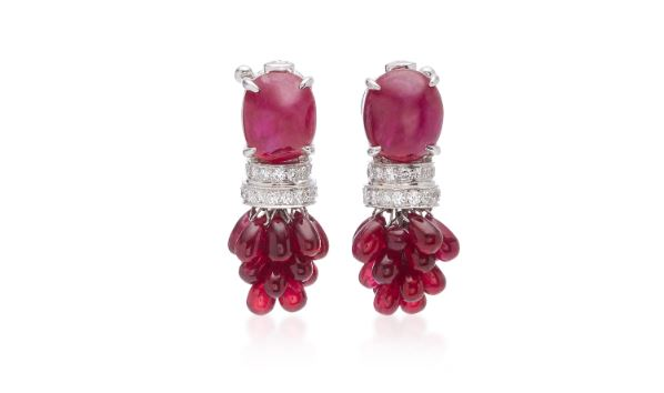 Ruby & Diamond Earrings. BUY NOW!!! #diamonds #whitegold #rings #earrings #white #gold #silver #Chopard #boucheron #lynnban #monicavinader #jewels #black #gemstones #beautiful #gems #beverlyhills #beautiful #shopping #shop #BevHillsMag